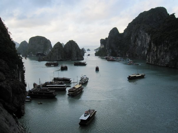 Traditional junk boats in Halong Bay, Vietnam including a tour to Monkey Island