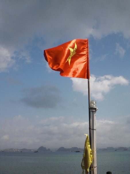Vietnamese Flag in Halong Bay