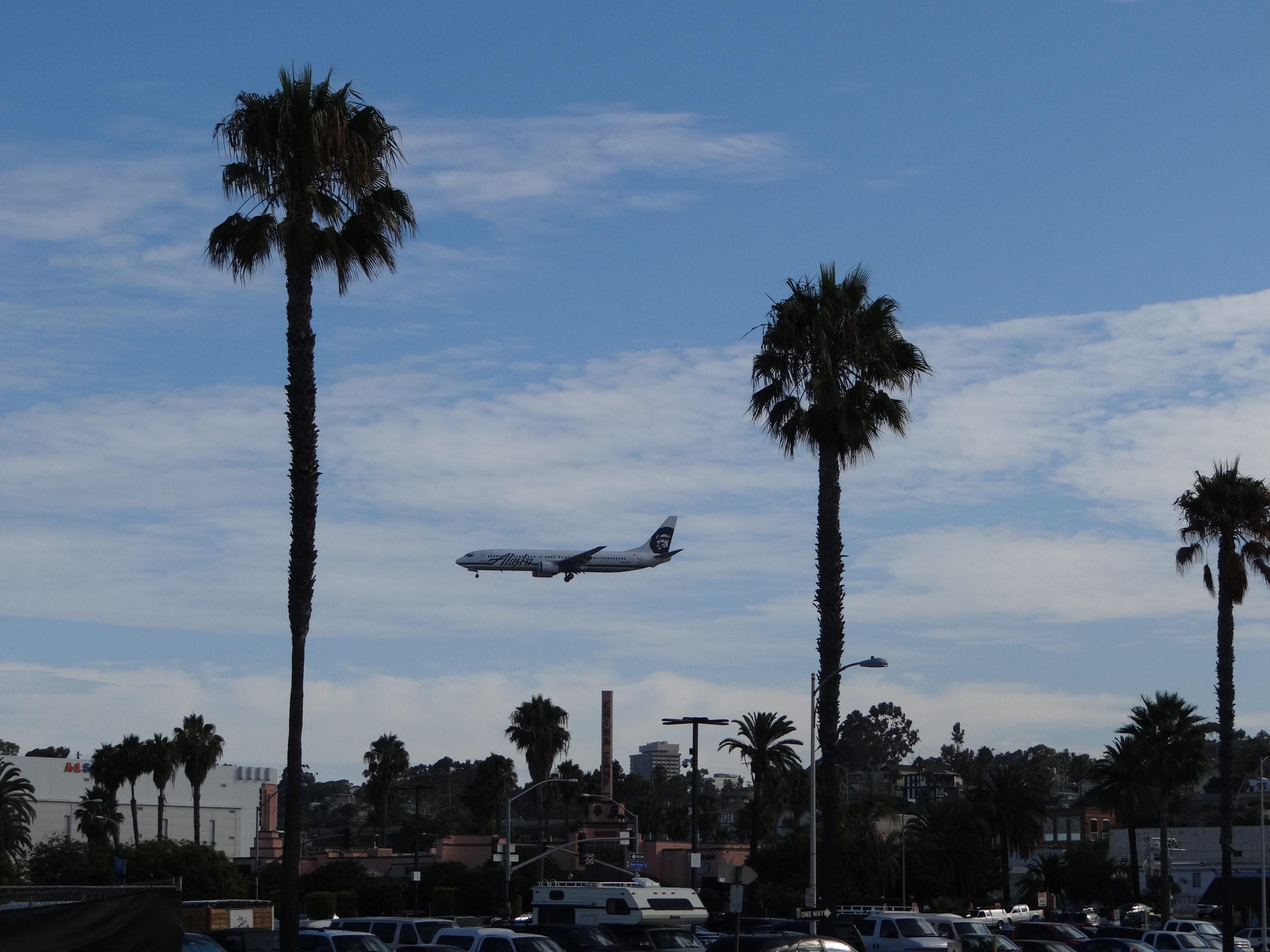 Plane landing in San Diego Helen in Wonderlust
