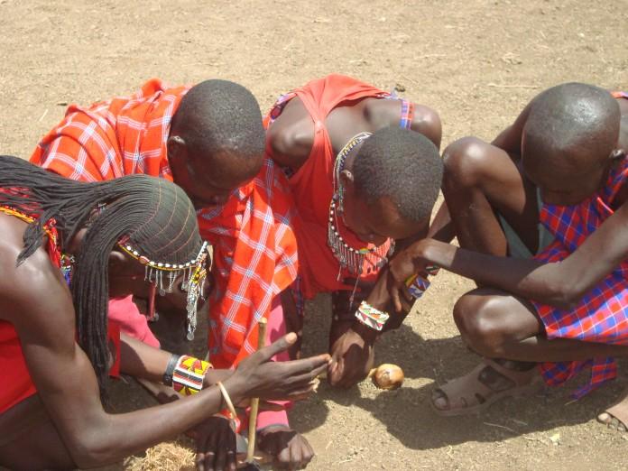 Maasai Lighting a Fire the Traditional Way