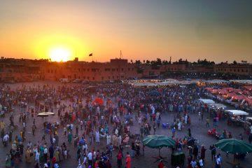 Jemaa-el-Fna Square at sunset Marrakech, Morocco