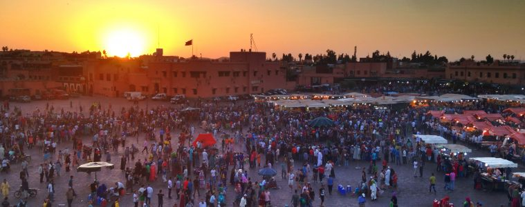 Jemaa-el-Fna Square at sunset Marrakech, Morocco