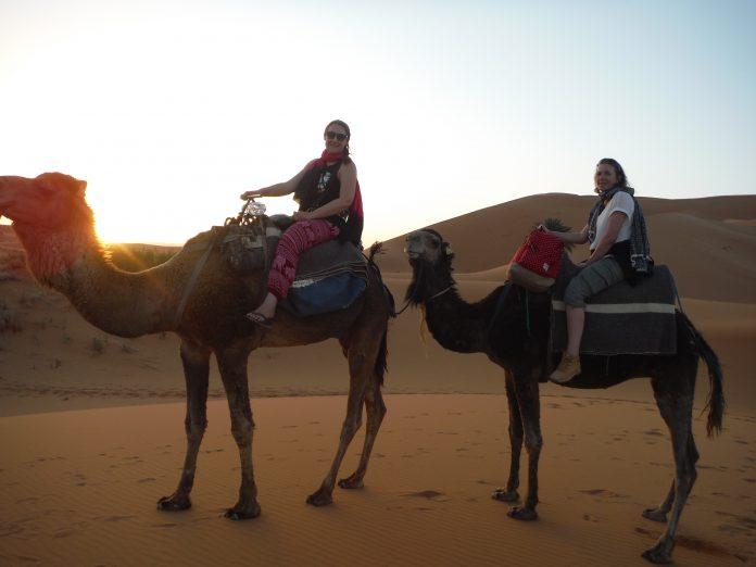 Sunrise camel ride in the Sahara Desert, Morocco.