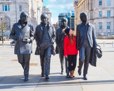 The Beatles Statue at the Pier Head in Liverpool