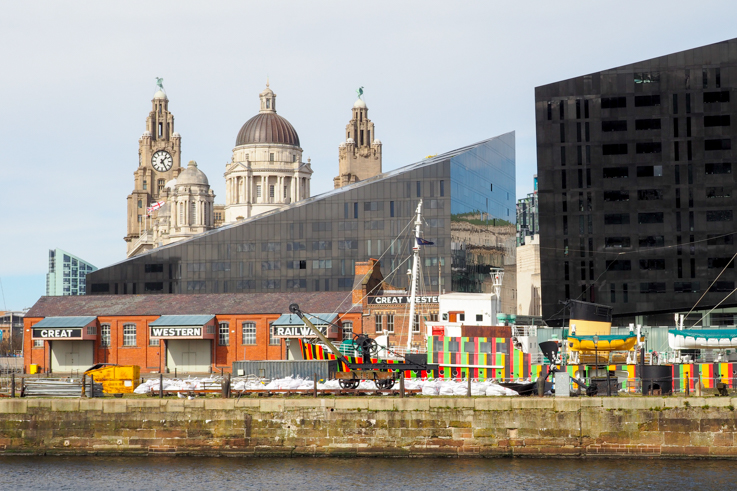 View from the Albert Dock towards the Pier Head in Liverpool