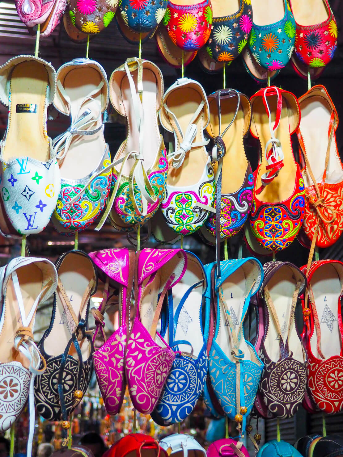 Shoes in the Marrakech souk - Marrakech Travel Tips