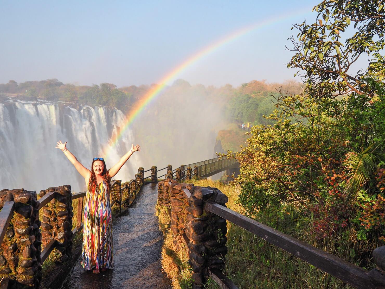 Victoria Falls Rainbow on the Knife Edge Bridge