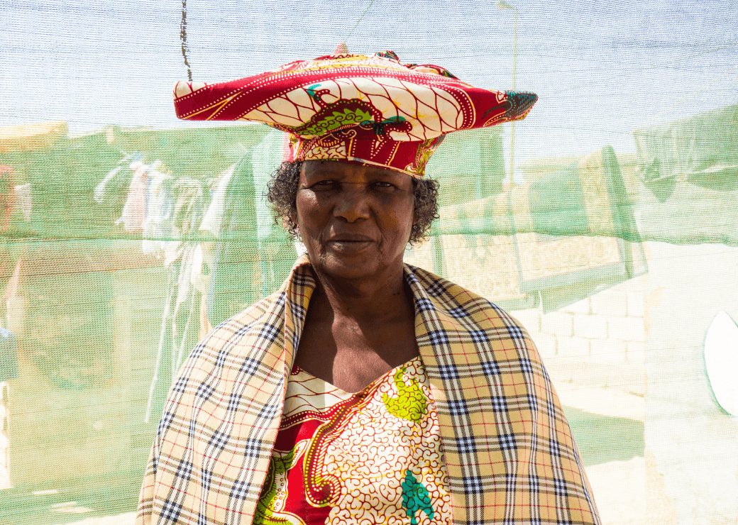 Herero lady in traditional dress, Swakopmund.