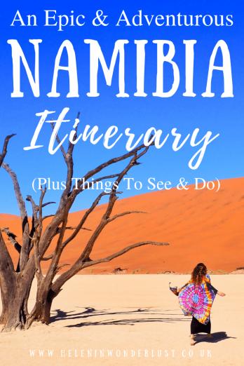 An epic & adventurous Namibia itinerary! Main highlights include: Etosha National Park, Sossusvlei, Swakopmund & Fish River Canyon.