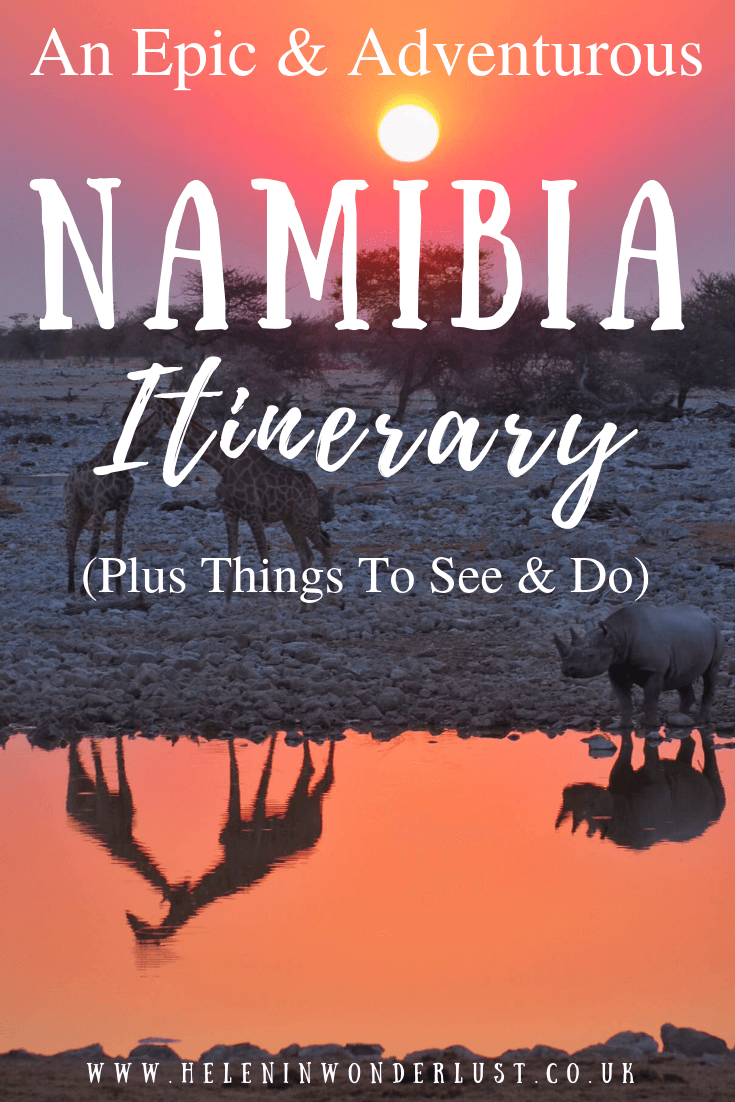 An epic & adventurous Namibia itinerary! Main highlights include: Etosha National Park, Sossusvlei, Swakopmund & Fish River Canyon.