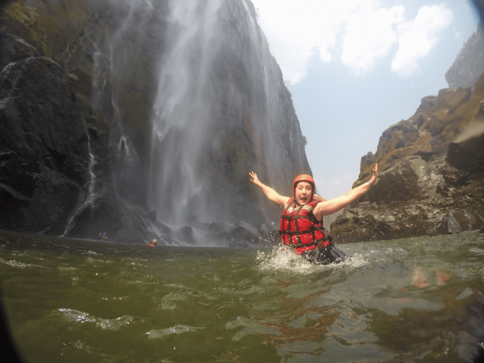 Under the Falls: Swimming at the bottom of Victoria Falls.