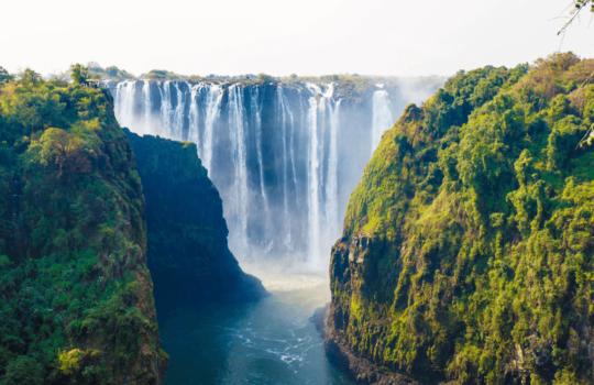 View of Victoria Falls from the Zim Zam Bridge.