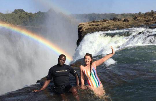 Rainbow at Devil's Pool, Livingstone in Zambia