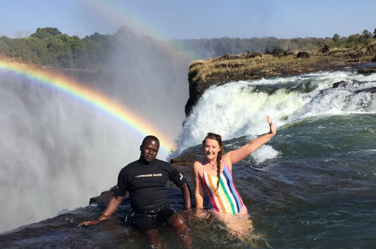 Rainbow at the Devil's Pool in Livingstone Zambia