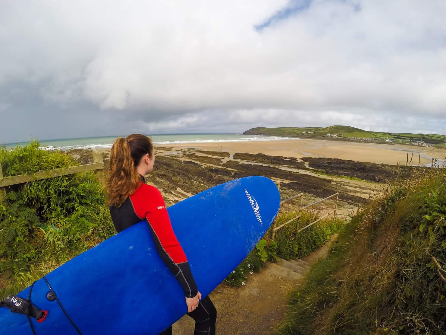 Surfing in Croyde Bay Devon